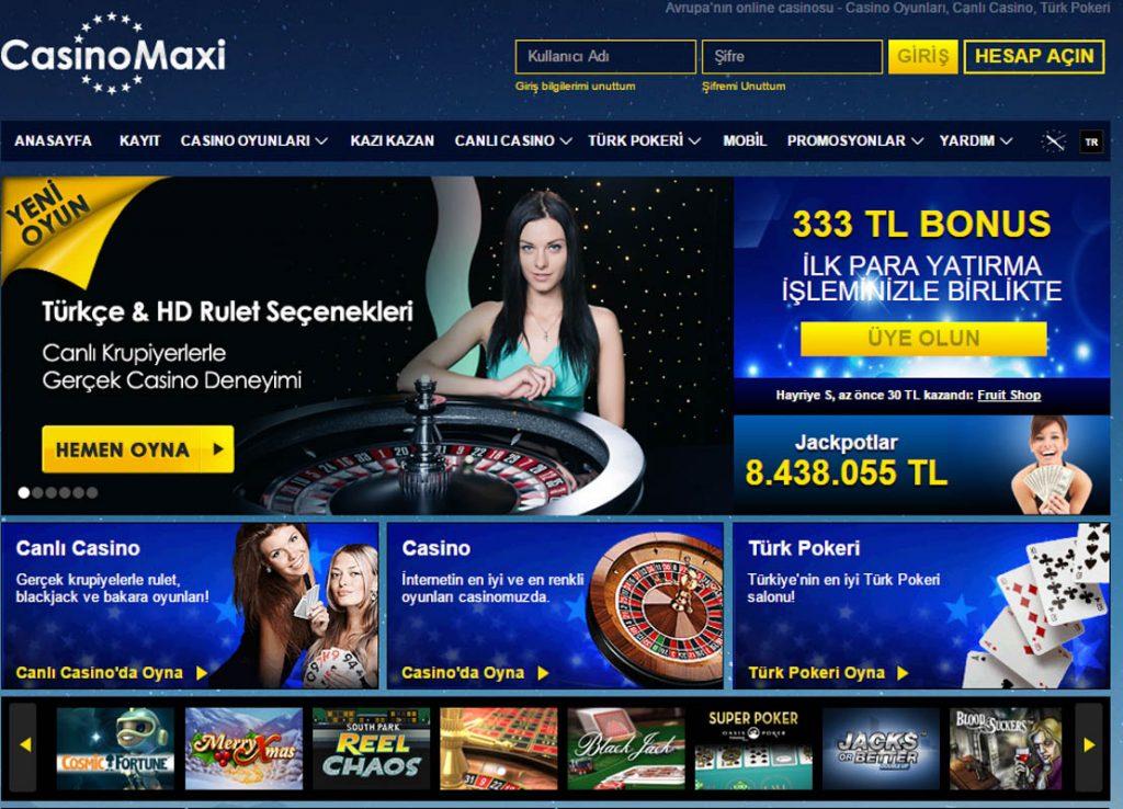Casinomaxi ilk uyelik ve kayit bonusu
